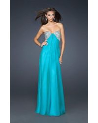 La Femme - 17718 Crystal Beaded Sweetheart Gown With Gathered Center Details - Lyst