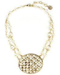 Ben-Amun - Lattice Pearls Oval Necklace - Lyst