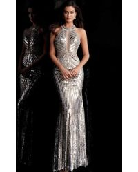 a9f6413f149 Jovani - Glimmering Sequined High Halter Evening Gown 62486 - 1 Pc  Silver gold In