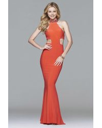 783fb584 Faviana - 7728 Jersey Jewel Neck Evening Dress With Side Cut-outs - Lyst