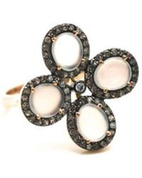 Trésor - White Moonstone Flower Ring With Diamond Pave Frame Set In K Rose Gold - Lyst