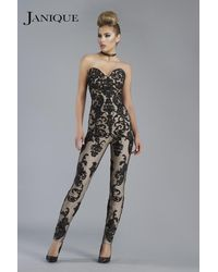 Janique - Beguiling Strapless Lace Jumpsuit K - Lyst