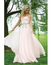 Jovani - Simple Evening Gown With Beaded Bow Belt - Lyst