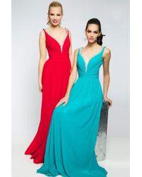 Jovani - Embellished V-neckline With Scoop Back Evening Dress Jvn - Lyst