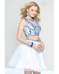 Alyce Paris - Dress In White Blue - Lyst