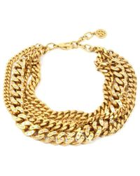 Ben-Amun - Gold Chain And Crystal Studded Necklace - Lyst