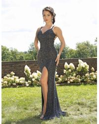 c67e5677a4c1 Primavera Couture - 3253 Lattice Textured Strappy Sheath Gown - Lyst