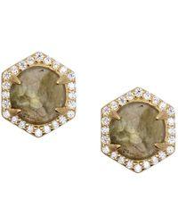 Rachael Ryen - Hexagon Pave Studs - Labradorite - Lyst