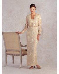 Montage by Mon Cheri - Long Dress In Champagne - Lyst