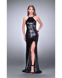 4c3084ef44 La Femme - 24497 All Sequined Halter Style Strappy Back Iridescent Evening  Gown - Lyst