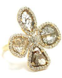 Trésor - Organic Diamond Flower Ring With White Diamond Pave Frame Set In K Yellow Gold - Lyst