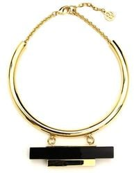 Ben-Amun - Gold Collar Necklace With Black Resin And Gold Bar - Lyst