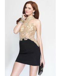 Alyce Paris - Short Dress In Black-gold - Lyst