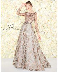 c2c32fb962 District 5 Boutique · Mac Duggal - Couture - 20123d Embossed Bateau A-line Evening  Gown - Lyst