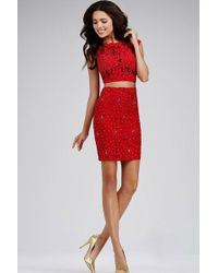 Jovani - Flawless Cap-sleeved Fitted Two Piece Cocktail Dress Jvn - Lyst