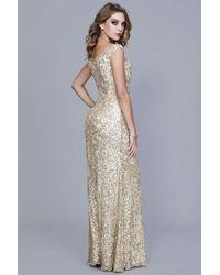 26298687662 Shail K - 12166 Off The Shoulder Full Sequined A-line Evening Dress - Lyst