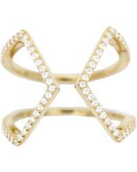 Rachael Ryen - Open Cross Pave Ring - Gold - Lyst