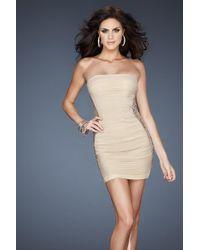 3d5275b21bf La Femme - 18232 Embellished Straight Across Sheath Dress - Lyst