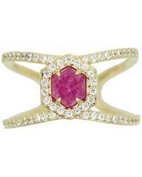 Rachael Ryen | Hexagon Pave Ring - Purple Jade | Lyst
