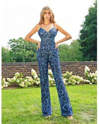 cd4e5686ef1 Primavera Couture - 3261 Sequined Plunging V-neck Jumpsuit - Lyst