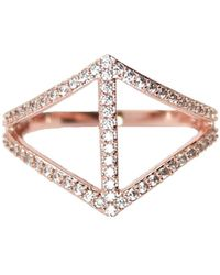Rachael Ryen - Chevron Pave Ring - Rose Gold - Lyst