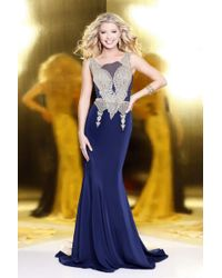 Shail K - Elegant Laced And Jeweled Scoop Neck Polyester Trumpet Gown - Lyst