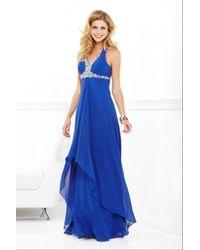 Faviana - Beaded Halter High-low Chiffon Long Evening Gown - Lyst
