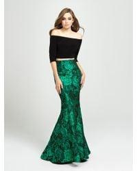 69871b4d Madison James - 19-126 Quarter Sleeve Off Shoulder Floral Print Gown - Lyst