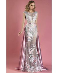 Mnm Couture - Pink Cap Sleeve Evening Gown - Lyst