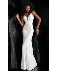 72d45caa798bd Lyst - Jovani Plunging Neckline High Slit Prom Dress Jvn49580 in White