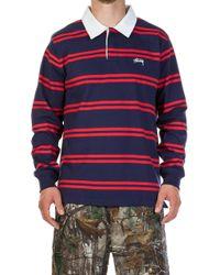 Stussy - Desmond Stripe Ls Rugby Shirt Navy - Lyst