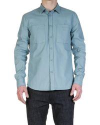 Nudie Jeans - Nudie Jeans Henry Army Shirt Blue Metal - Lyst