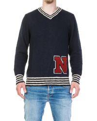Nudie Jeans - Nudie Jeans Hampus Team Sweater Navy - Lyst