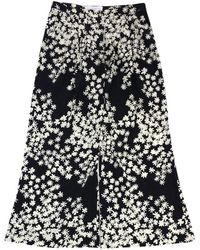 Carolina Herrera - Black & Beige Floral Silk Pants - Lyst