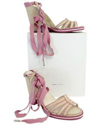 Marc Jacobs Pink & Beige Lace Up Canvas Wedges