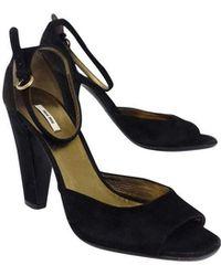 Miu Miu - Black Suede Sandal Heels - Lyst