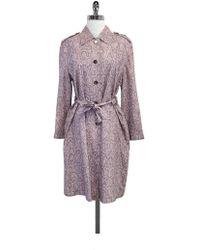 ESCADA - Pink Snakeskin Print Silk Trench Coat - Lyst