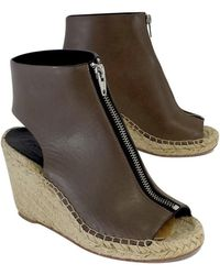 Céline - Céline- Brown Leather Espadrille Wedges - Lyst