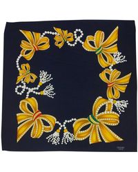Chanel - Navy Bows & Jewels Print Scarf - Lyst
