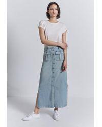 Current/Elliott - Buttoned Maxi Denim Skirt - Lyst