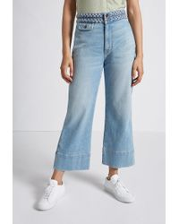 Current/Elliott - The Braided High Waist Cropped Camp Jean - Lyst