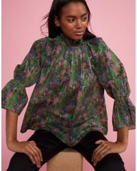 Cynthia Rowley - Marble Cotton Waterfall Blouse - Lyst