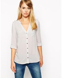 Oasis Gray Military Shirt - Lyst