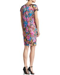 St. John Collection Botanica Print Silk Stretch Charmeuse Cap Sleeve Dress with Pockets - Lyst