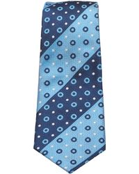 Turnbull & Asser - Slim Oxford Stripe And Circles Tie In Navy And Blue - Lyst