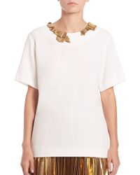 DKNY | Crepe Embellished Top | Lyst