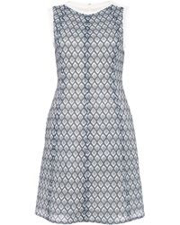 O'2nd - Grey Waffle Print Fit And Flare Dress - Lyst