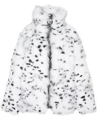 Helen Yarmak International - White Fox with Dots Jacket with Oversized Black Zipper - Lyst