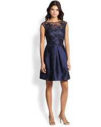 Kay Unger Embroidered Lace Satin Dress - Lyst