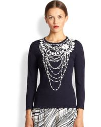 Carolina Herrera Bead Detail Wool Top - Lyst